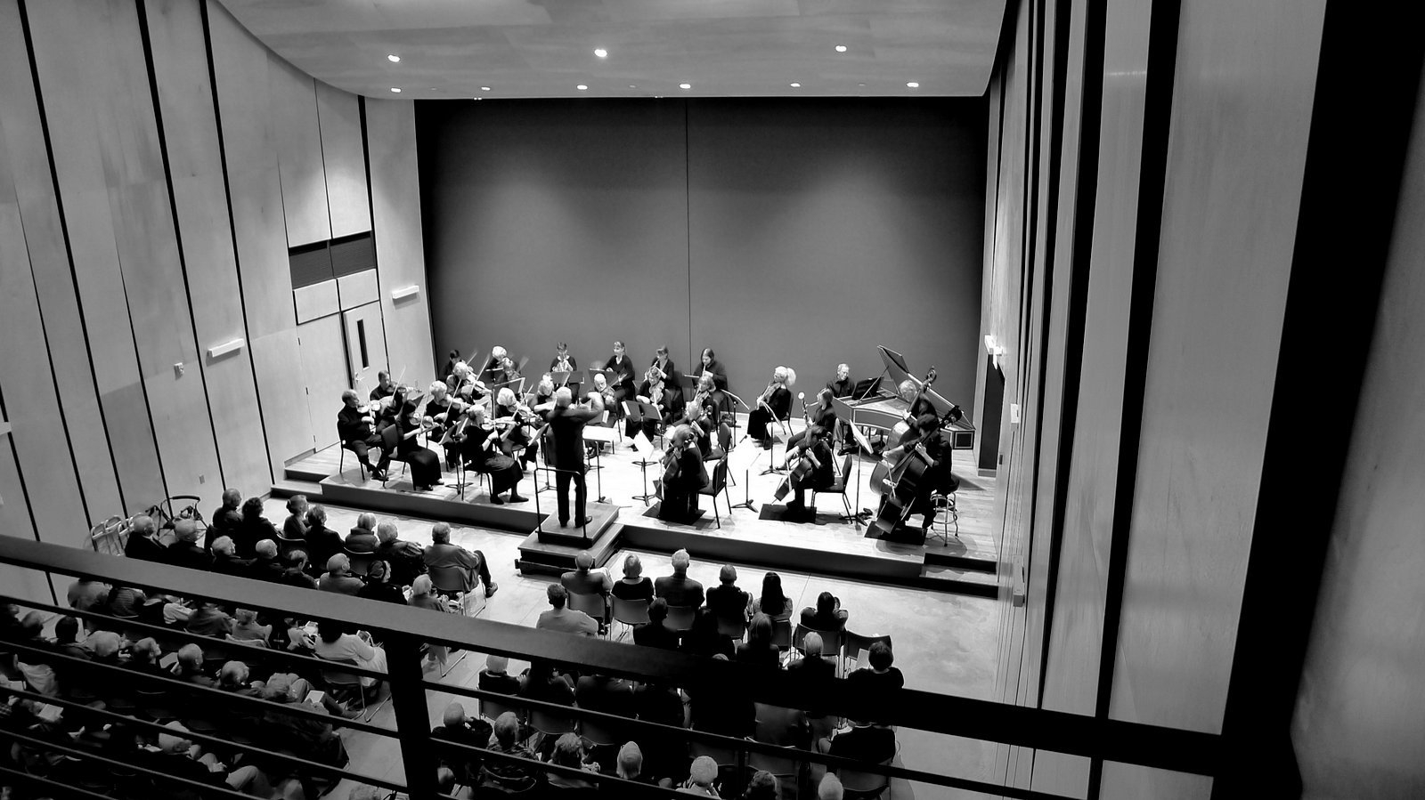 Orchestra performing in hall