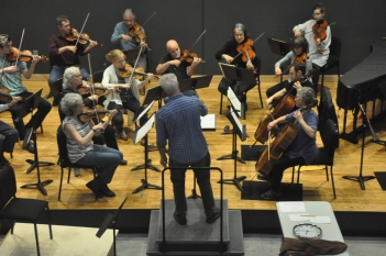 orchestra in rehearsal